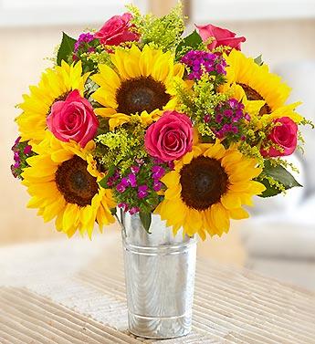 Sunflower And Pink Rose Bouquet Ocean Breeze Flowers a...