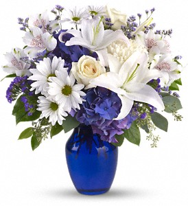 Blue Sympathy Vase Ocean Breeze Flowers And Gifts